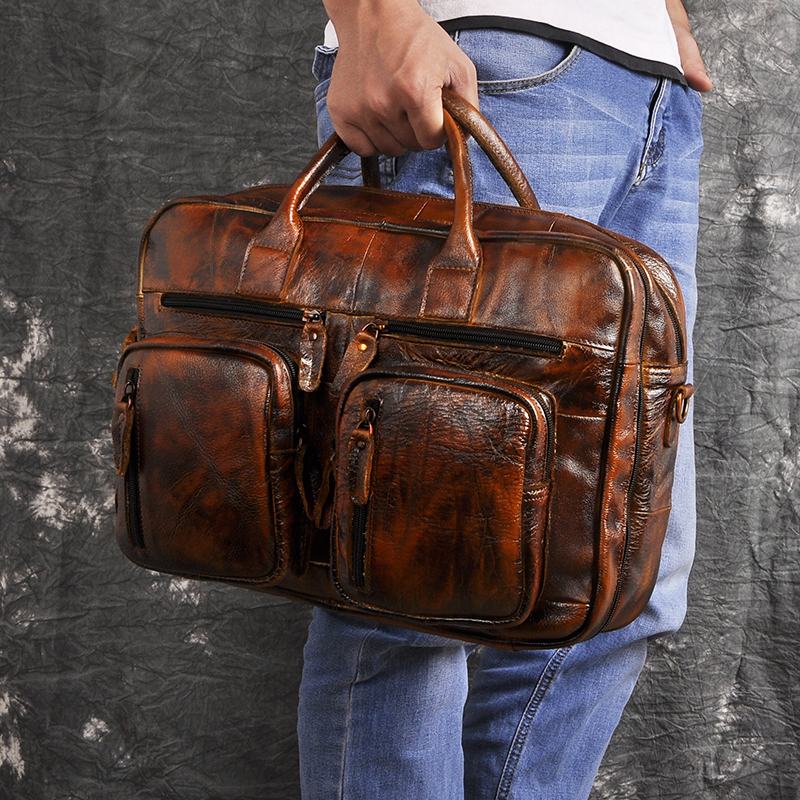 H101c70e226094622b61181bcb1edd9eeD Men Oil Waxy Leather Antique Design Business Travel Briefcase Laptop Bag Fashion Attache Messenger Bag Tote Portfolio Male k1013