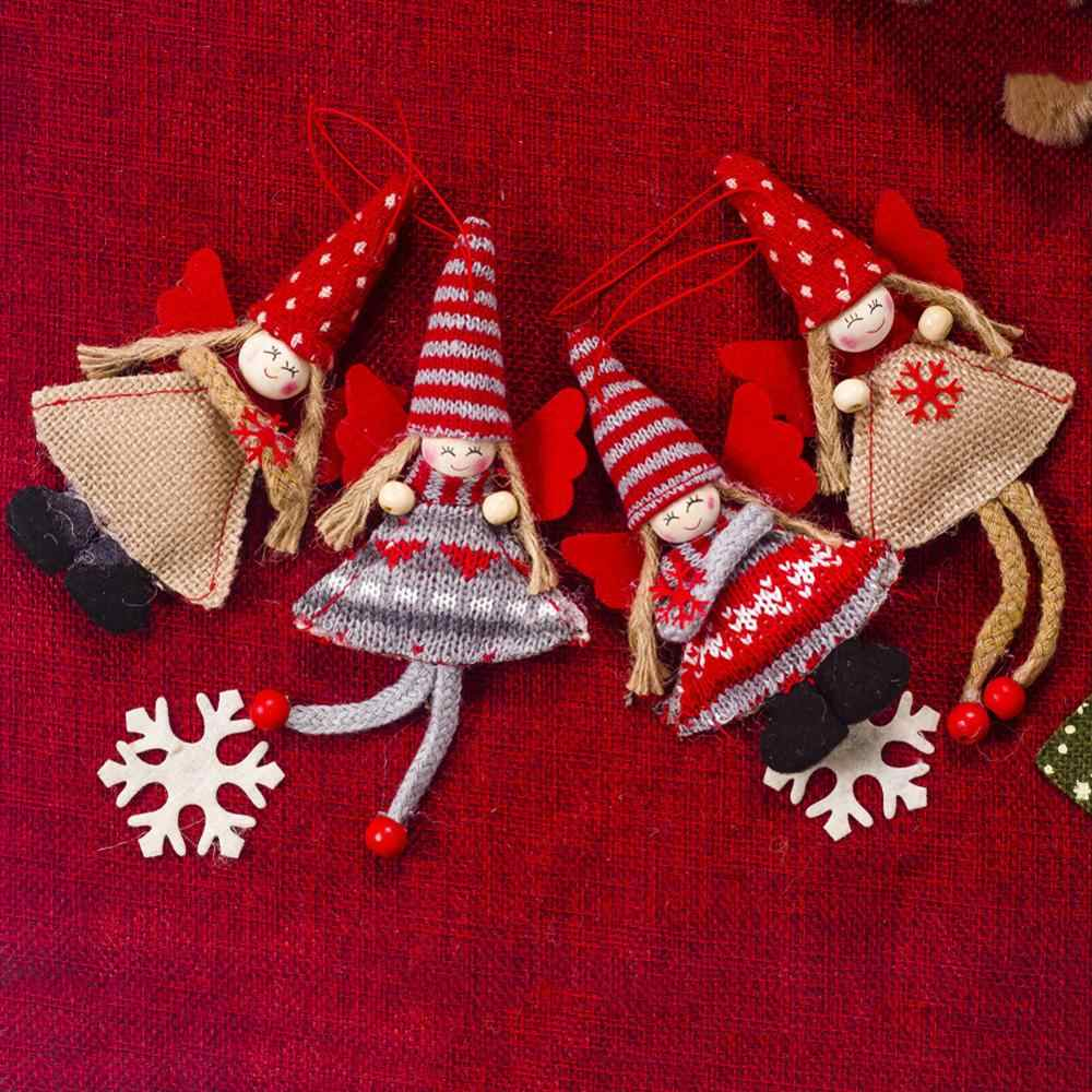 คริสต์มาสน่ารักตุ๊กตาผ้าไหม Angel ตุ๊กตาเครื่องประดับคริสต์มาส Noel ตกแต่งคริสต์มาสสำหรับตกแต่งบ้าน 2020 เด็กใหม่ปีของขวัญ lates