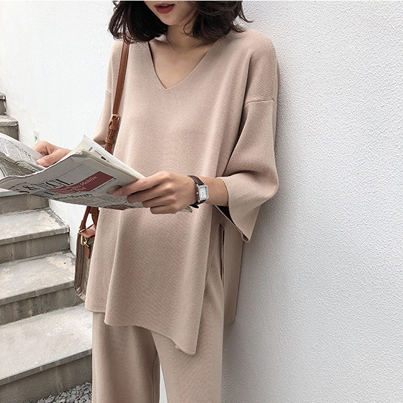 Women Autumn Knitted Tracksuit V-neck Pullover Suit Clothing Loose Sweater Wide Leg Pants