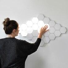 Moderno led night light quantum lâmpada modular sensível ao toque favo de mel luzes da noite decoração do quarto cabeceira iluminação presente magnético