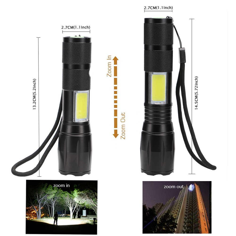 5000LM puissant lampe de poche LED côté lampe COB conception T6 Zoomable torche 4 modes de lumière use 18650 batterie + chargeur, pour le camping