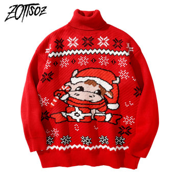 ZOTTSOZ Xmas Turtleneck Sweaters Knitted Snowflake Horse Women Autumn Winter Christmas Holiday Casual Harajuku Jumpers Knitwear christmas snowflake patterned tunic turtleneck sweater