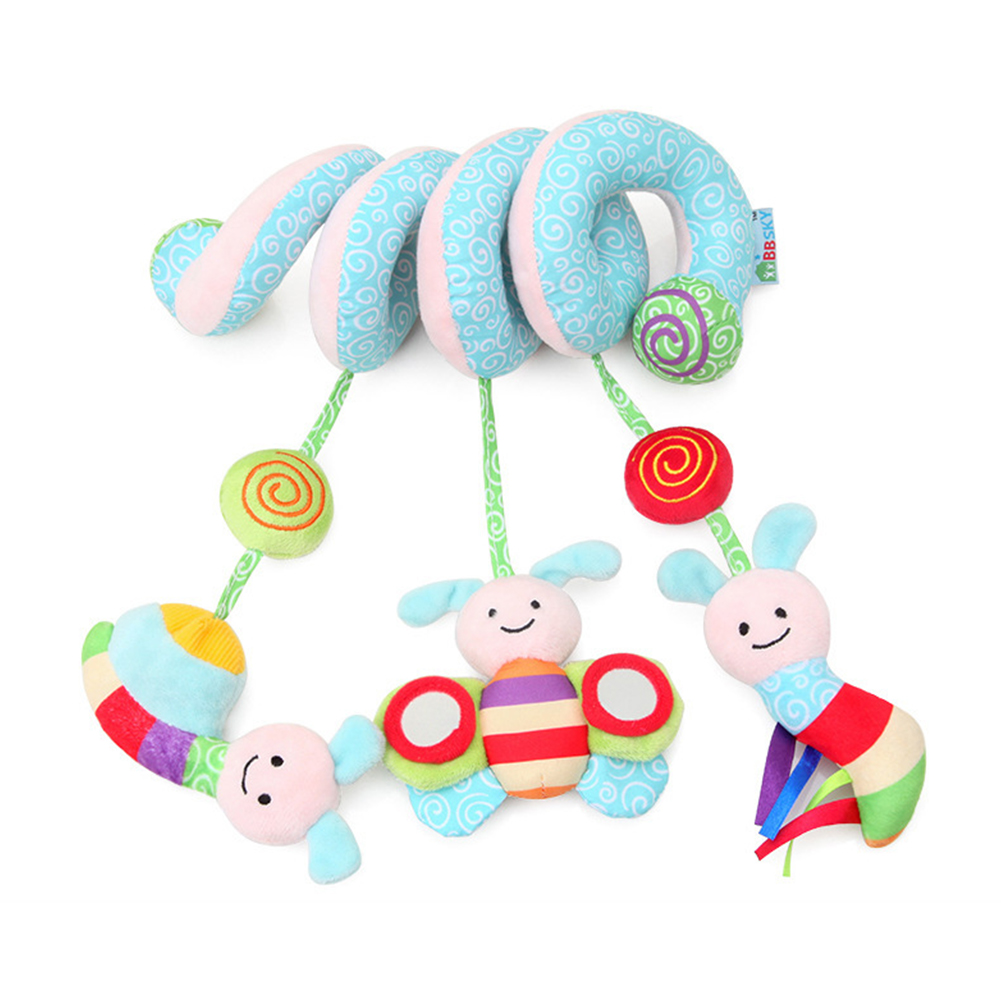 Infant Rattle Cute Animal Favorite Baby Crib Toy Early Education Spiral Cognitive Wrap Around Hanging Decoration Stroller Plush