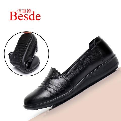 2019 autumn new female flats genuine leather women shoes slip on shoes for women black flats soulier femme Multan