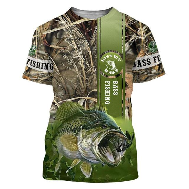 Bass with camo fishing T shirt all over print