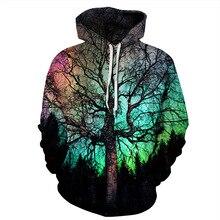 UNEY Hoodies for Men Nature Hoodies Tree Long sleeve Rainbow Top Crew neck Sweatshirt Hooded Sweatshirt crew neck bare father christmas print sweatshirt