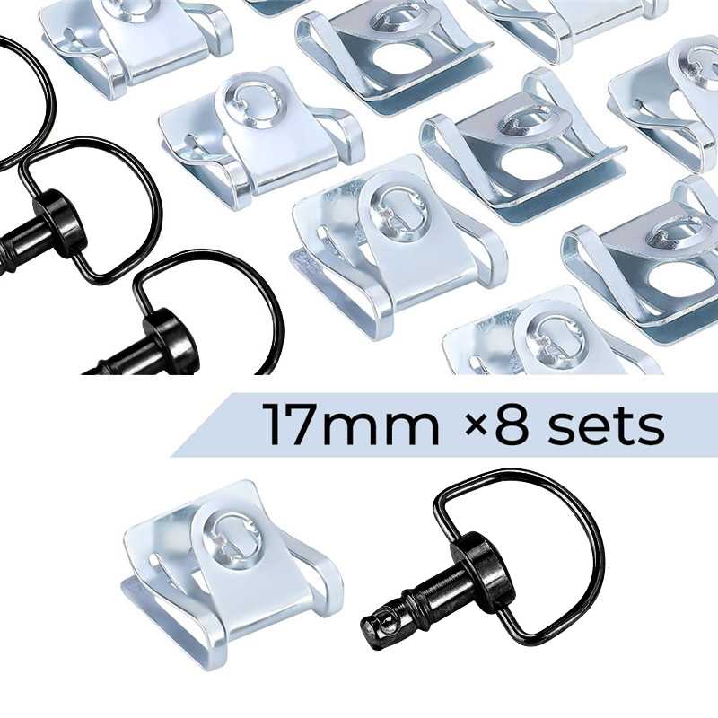 1//4 Turn Quick Release 17mm D-Ring Race Fairing Fasteners Rivet Style Brushed Matte Silver 1 Set