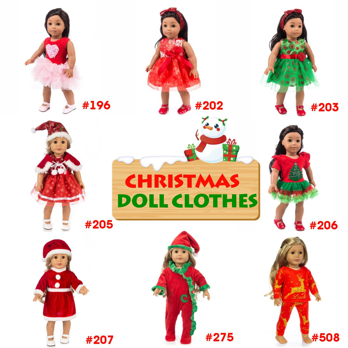 8 Styles Doll Clothes Fits 50CM 18 Inch Doll Girls Doll Handmade Christmas Outfit Doll Clothes Dress Outfit [not Include Doll]