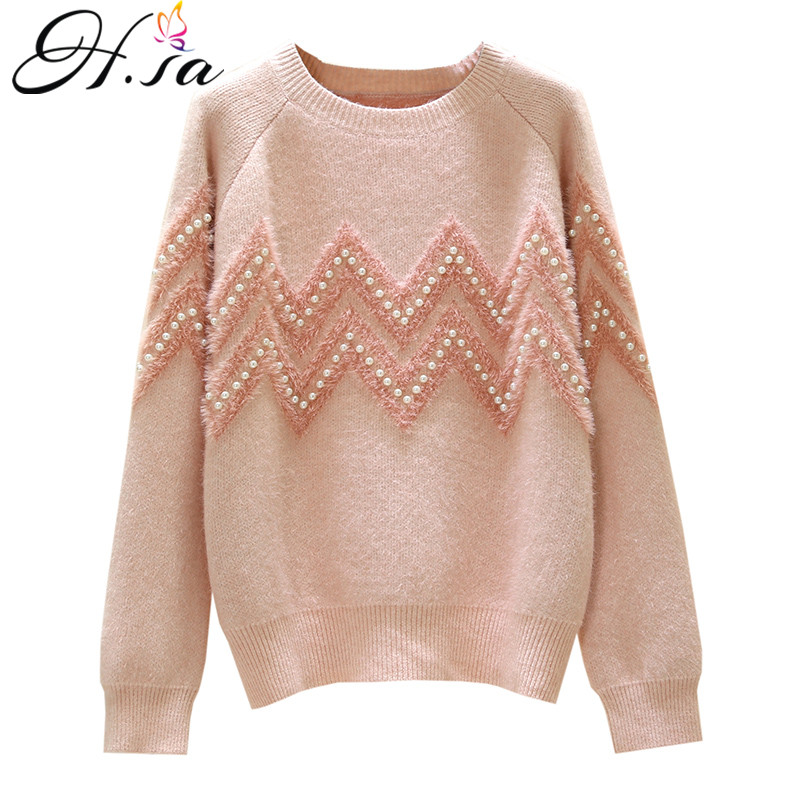H.SA 2020 Women Sweaters Oneck High Quality Pearl Beading Loose Sweater Tops Pink Mohair Full Jumpers Spring Casual Outerwear
