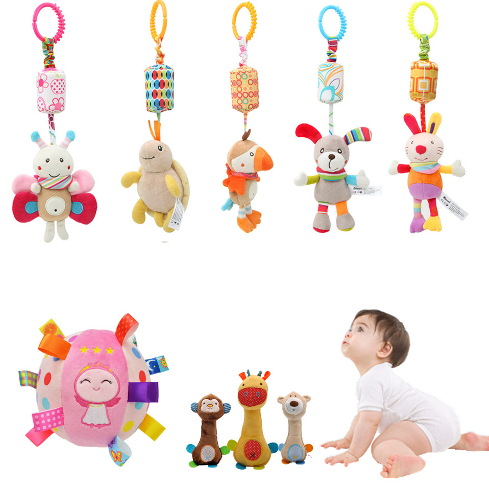 Newborn Baby Plush Stroller Toy Baby Rattles Mobiles Cartoon Animal Hanging Bell Educational Baby Toys For 0-12 Months Speelgoed