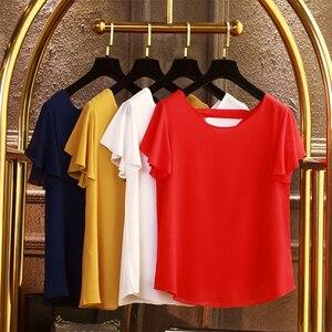 2020 новая Брендовая женская шифоновая рубашка большого размера, летняя женская блузка с коротким рукавом 5XL, повседневный Женский пуловер бо...