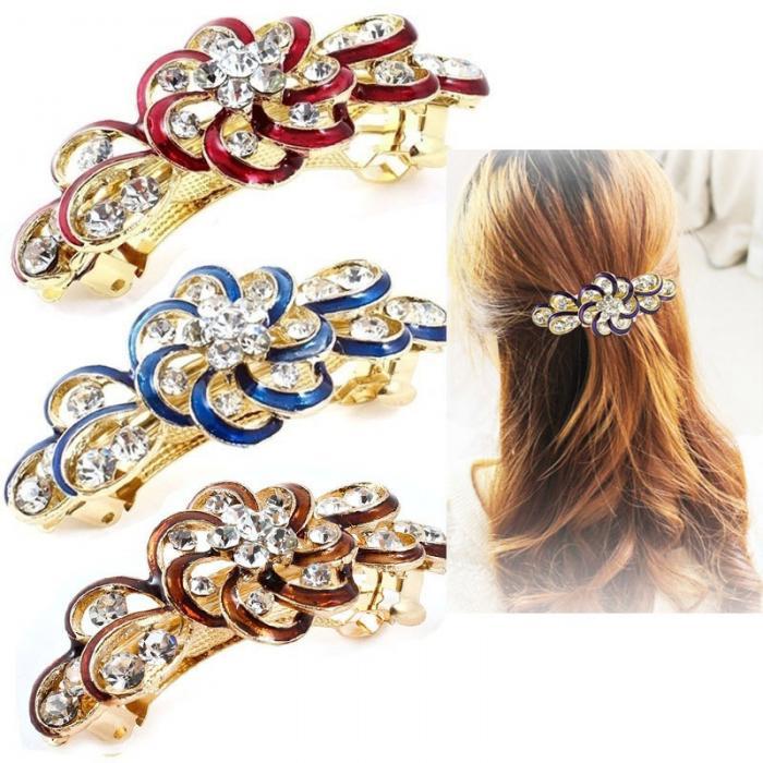 Beauty Women Fashion Hair Clip Flower Crystal Rhinestone Barrette Hairpin Headband Accessories 789