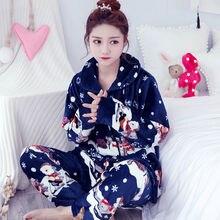 Christmas Pyjamas Women Winter/Autumn Pajamas Set Long Coat Pant  Flannel Loose Size Sexy Home Warm 2019 Sleepwear 2Piece/Set