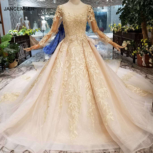 Image 1 - HTL125 muslim wedding dresses 2020 o neck long tulle sleeve beaded shiny lace cheap wedding gown fashion New material mariage