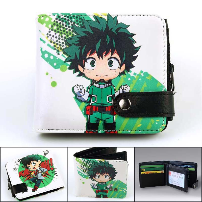 Anime Wallet Pokemon/Naruto/One Piece/my Hero Academia Money Bag Card Holder Coin Purse Zipper & Hasp Student Wallet Cartoon