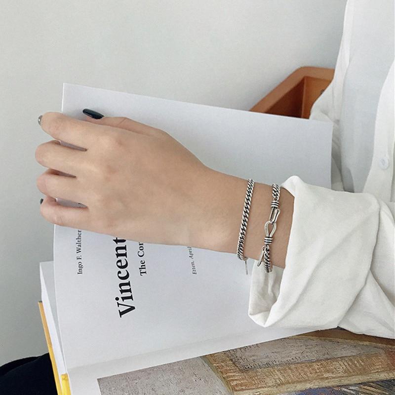 ANENJERY Punk Design English Letter Tag Thai Silver Color Couple Bracelet For Women Men Jewelry S-B333