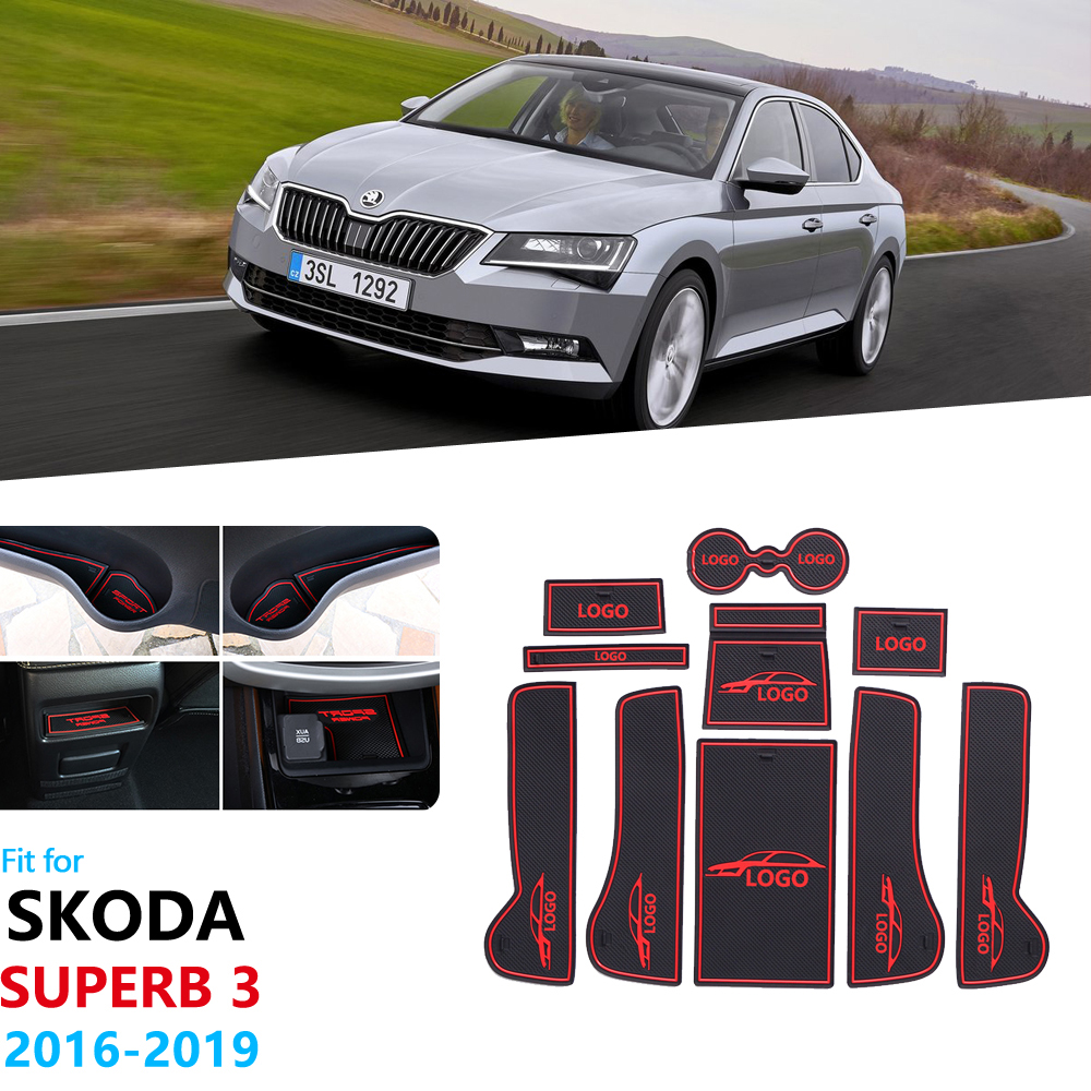 For Skoda Superb 3 MK3 2016~2019 B8 3V Anti-Slip Rubber Gate Slot Cup Mat Door Groove Mat Car Stickers 2016 2017 2018 2019