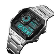 SKMEI Outdoor Sport Watch Men Compass fitness watch 5Bar Waterproof Watches Stainless Strap Digital Watch reloj hombre 1382 цены