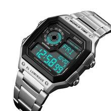 SKMEI Outdoor Sport Watch Men Compass fitness watch 5Bar Waterproof Watches Stainless Strap Digital reloj hombre 1382