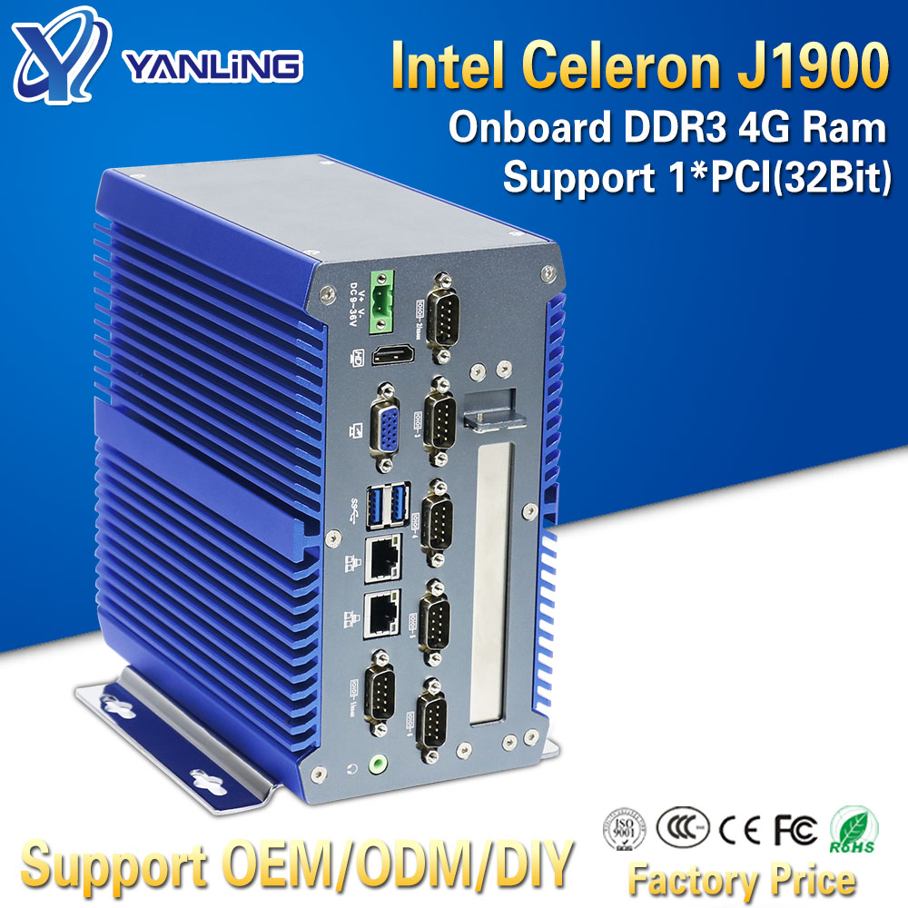 Yanling Smart Intel J1900 Quad Core Fanless Industrial Box Mini PC Onboard 4GB Ram Dual Lan Ubuntu Computers Support 1*32Bit PCI