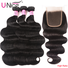 UNICE HAIR 4x4 zamknięcie koronki z malezyjską falą ciała 3/4 wiązki z zamknięcie koronki s z Remy włosy wiązki ludzkich włosów