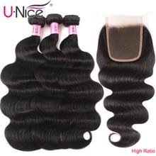 UNICE HAIR 4x4 Lace Closure With Malaysian Body Wave 3/4 Bundles with Lace Closures With Remy Hair Human Hair Bundles