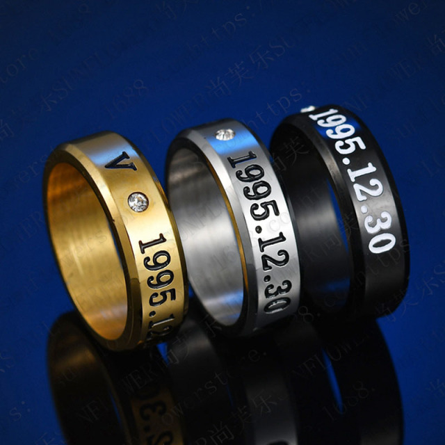 1pcs BTS Black Gold Silver Gloss Rings Name Birthday  3