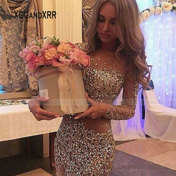 Stunning Long Sleeves Short Prom Dress Sexy Illusion Design Heavy Beading Crystal Sheath Mini Graduation Party Gown Plus Size