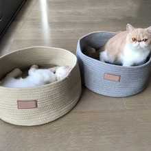 New arrival cotton rope woven pet kennel cat bed sleeping bags carpet scraper house