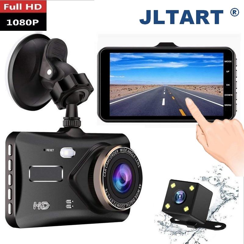 """Jltart traço cam lente dupla dvr carro completo hd 1080p4 """"tela de toque ips com backup câmera traseira registrador noite visão vídeo recorde"""
