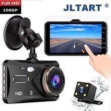 Видеорегистратор jltart, Автомобильный регистратор с двумя объективами, HD 1080 p4, сенсорным экраном IPS, камерой заднего вида и функцией ночного в...