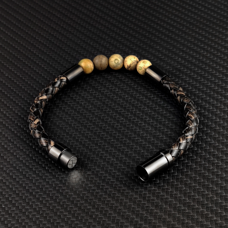 Bracelet en cuir tressé pour hommes et femmes, nouveau, breloque rouge, pierre naturelle 2