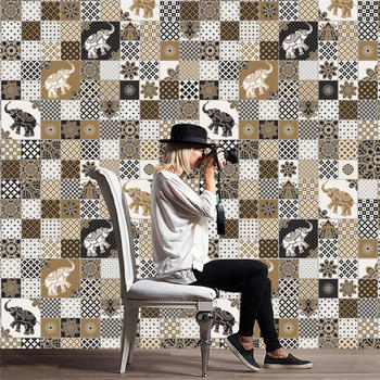 Adhesivos para baldosas adhesivo artístico de pared de 1 rollo de nueva calidad, vinilo para decoración de baño y cocina DIY de 20x500 cm, triangulación de envíos y 109