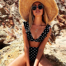 Bikini suit sexy push-up high waist bikini swimsuit with tie Ruffle Bathing Suit Polka Dot womens