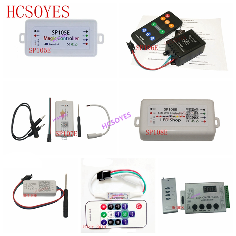 SP110E SP105E SP108E SP106E SP107E 14key 3pin HC008 Music Controller WS2812B Bluetooth SK6812 RGB/RGBW APA102 WS2811 led strip image