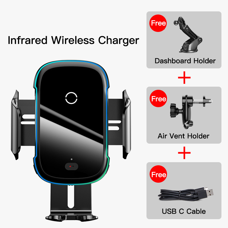 Baseus 15W Wireless Charger Car Mount for Air Vent Mount Car Phone Holder Intelligent Infrared Fast Wireless Charging Charger 6