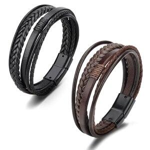 Leather Braided Bracelet Men M