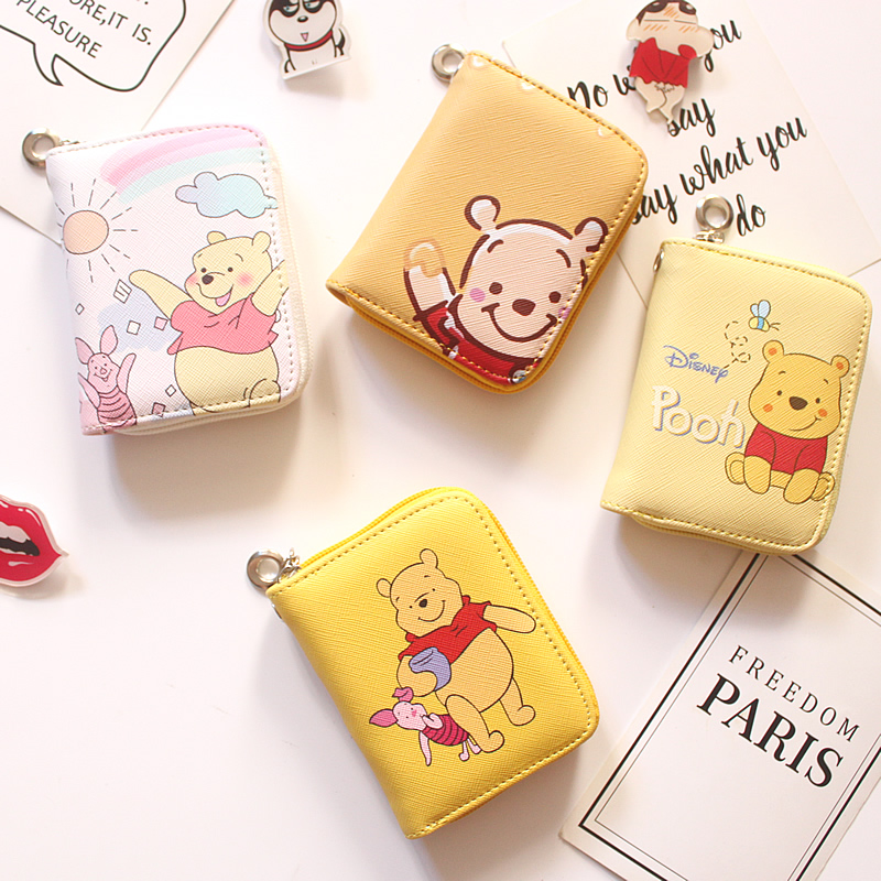 Winnie The Pooh Pattern Prints Mini Wallets Coin Purse Large Capacity Clutch  PU Leather Girl Card Holder Wallets