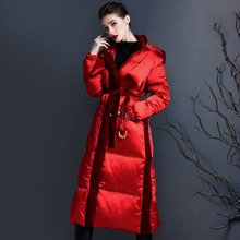Yao Cool 2021 nian New Style Exta-long Hooded Winter Thick Velvet Joint over-the-Knee White Duck down Jacket