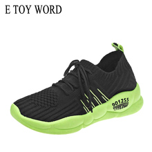 Buy E TOY WORD Women sneakers Sports Women Shoes 2019 New Women casual shoes knitted breathable mesh lace up flat shoes women directly from merchant!