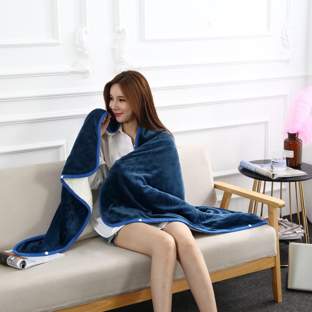 Flannel Blanket Hoodie Travel Totoro Blanket Soft Fuzzy Fluffy Blankets Sweatshirt Solid Winter Warm Fleece TV Blankets for Beds 13