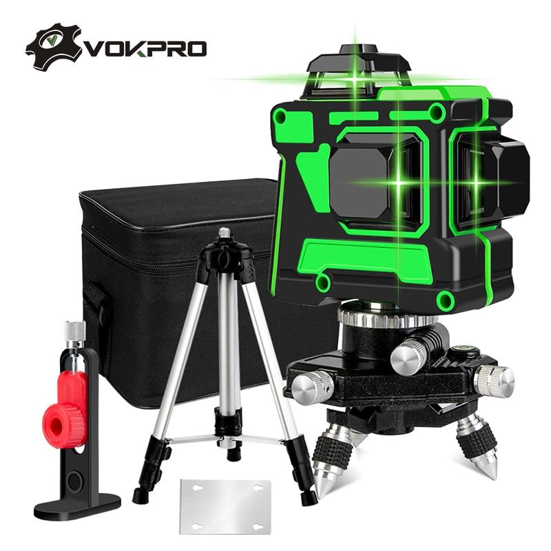 12 linhas 3d laser verde nível auto-nivelamento 360 graus linhas transversais horizontais e verticais linha laser verde com bateria do tripé