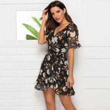 Summer Hot Womens Skinny  Tight Dress Deep V Ruffled Printed Chiffon Women