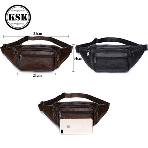 Image 5 - Men Waist Pack Genuine Leather Bag Waist Belt Bag Leather Fanny Pack For Men 2019 Fashion Luxury Male Small Shoulder Bags KSK
