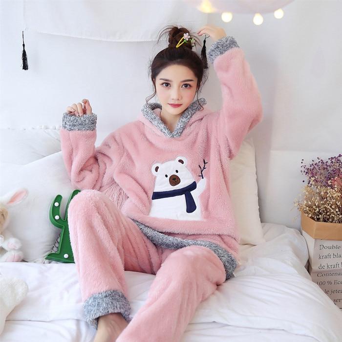 Christmas Pajamas Women WAVMIT Winter Wool Warm Velvet Thickening Flannel Sleepwear Set Cute Hooded Pajamas Loungewear Women 6