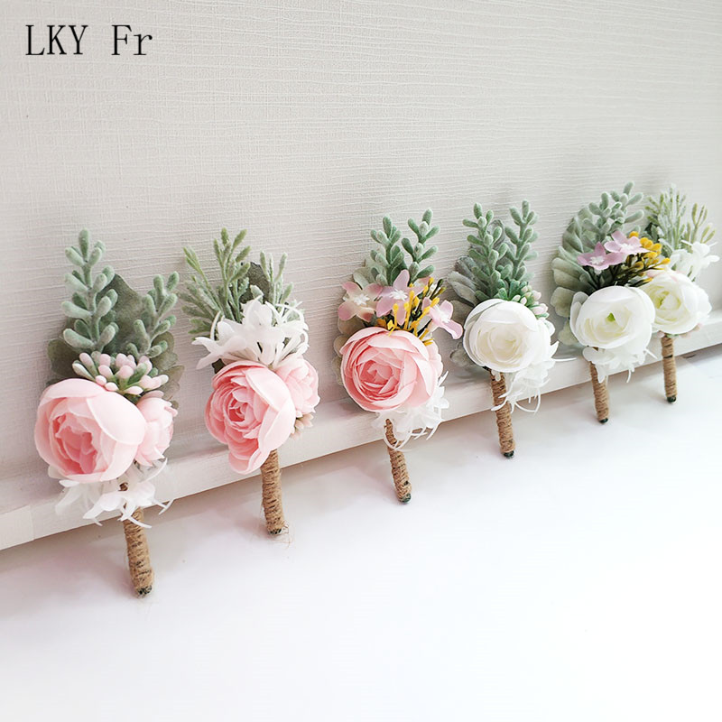 LKY Fr Boutonniere Corsage Silk Roses White Pink Wedding Corsages And Boutonnieres Buttonhole Flowers Pins Marriage Accessories