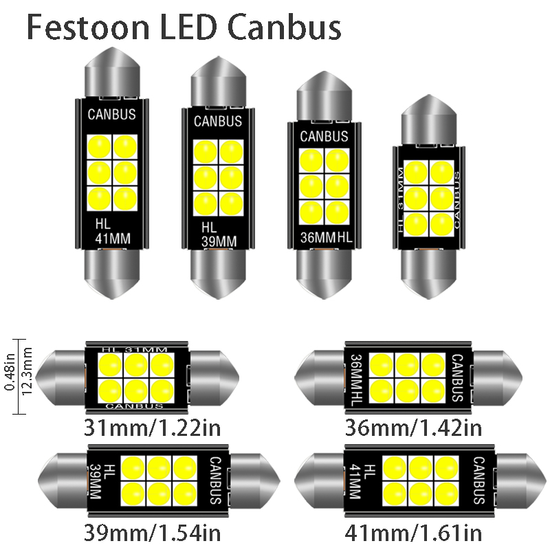 1pcs 3030 Festoon 31mm 36mm 39mm 41/42mm C5W Led Bulb CANBUS C10W Dome Reading Lamp Car Beleuchtung Interior License Plate Light