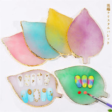 1pc Resin Leaf Gem Stone Gradient Nail Art Palette Acrylic UV Gel Polish Holder Paint Dish Glue Manicure Display Shoot Tool New cheap Art lalic CN(Origin) C1902131458 Showing Shelf Approx 17 5*7 8 6 different colors optional Resin Agate For nail art showing
