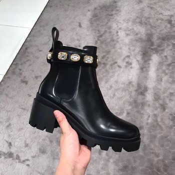 2019 hiver Botte Pour Femme nouveau Muffin à fond épais tissu extensible strass Chelsea chaussures bottes courtes cheville plat Martin Botte