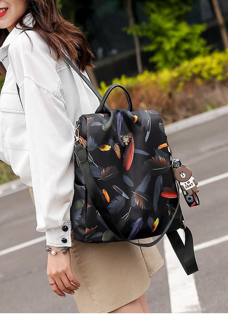 H101eae11e0534d3789ff5c8dbfeccd6bj 2019 New Women Backpacks Vintage Korea Brand Design Bag Travel Anti Theft Backpack Nylon High Quality Small Rucksack ZZL188